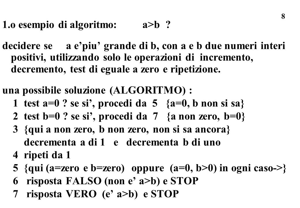 1.o esempio di algoritmo: a>b