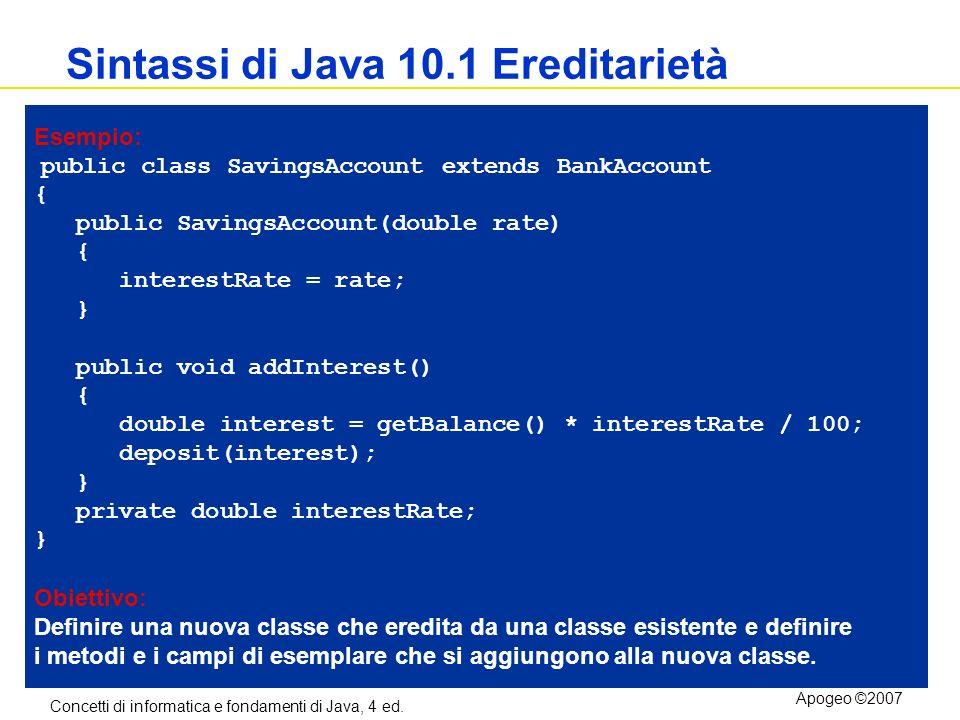 Sintassi di Java 10.1 Ereditarietà