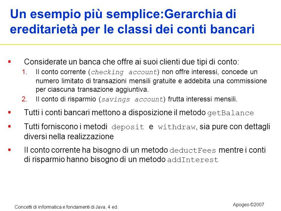 Un esempio più semplice:Gerarchia di ereditarietà per le classi dei conti bancari