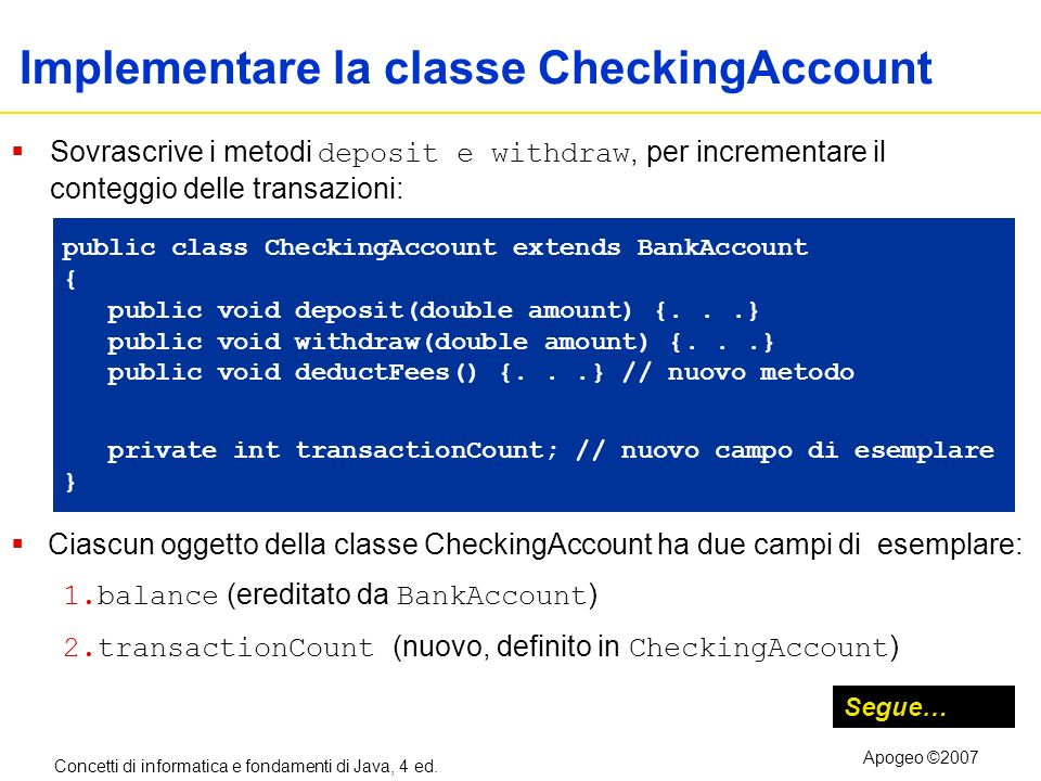 Implementare la classe CheckingAccount