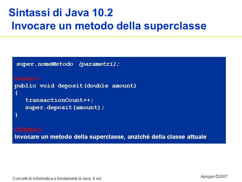 Sintassi di Java 10.2 Invocare un metodo della superclasse