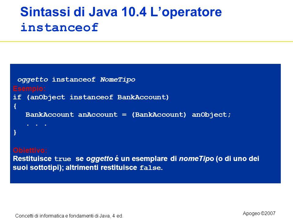 Sintassi di Java 10.4 L'operatore instanceof