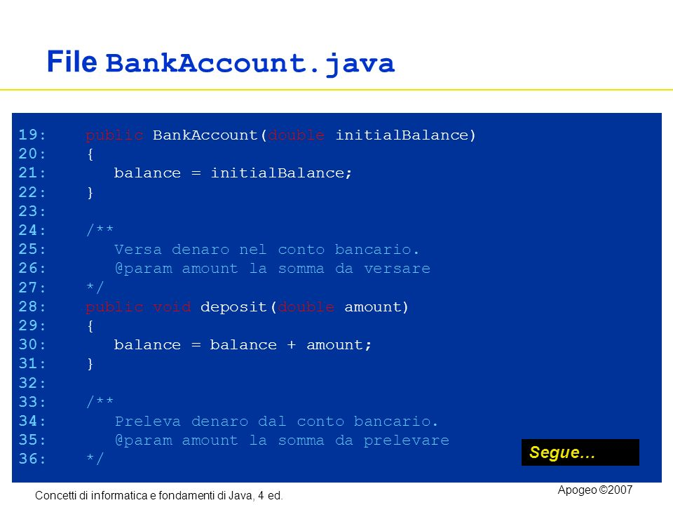 File BankAccount.java Segue…