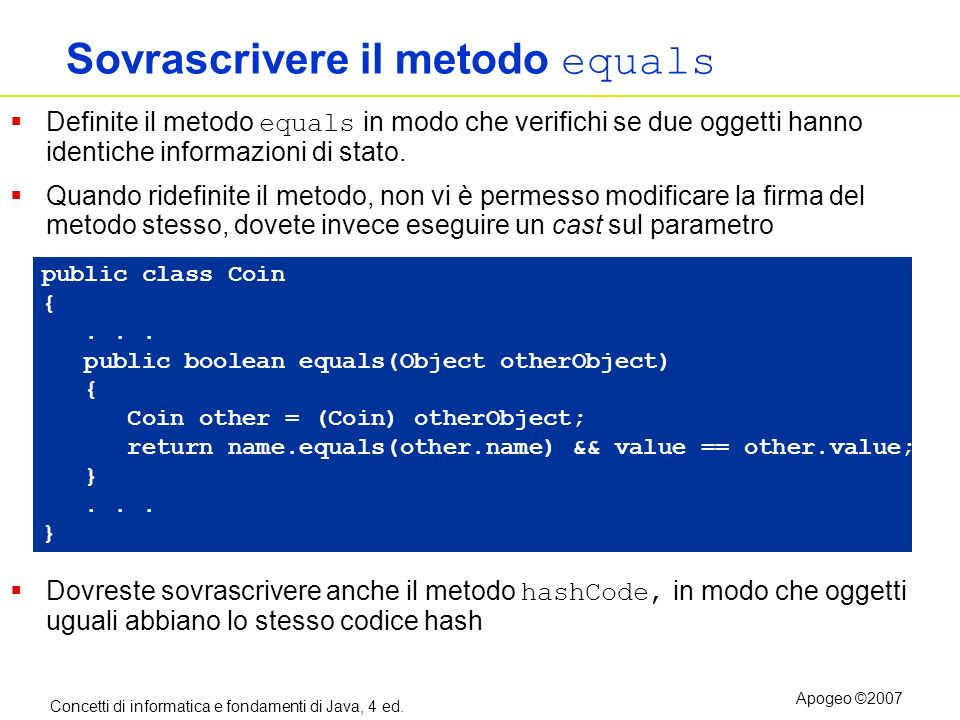 Sovrascrivere il metodo equals