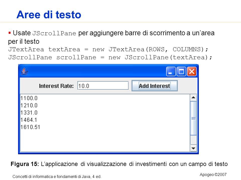 Aree di testo Usate JScrollPane per aggiungere barre di scorrimento a un'area per il testo.