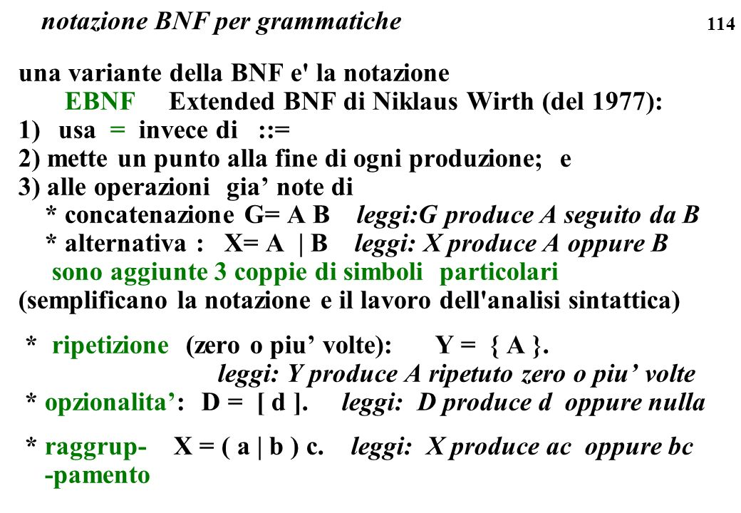 notazione BNF per grammatiche