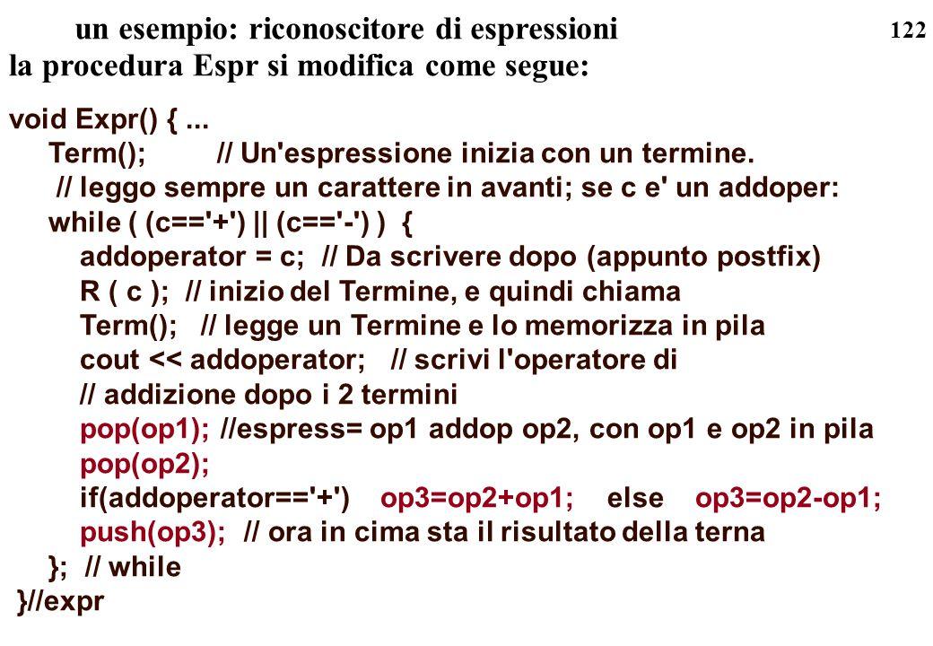 un esempio: riconoscitore di espressioni