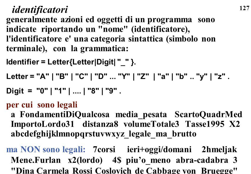 identificatori generalmente azioni ed oggetti di un programma sono indicate riportando un nome (identificatore),