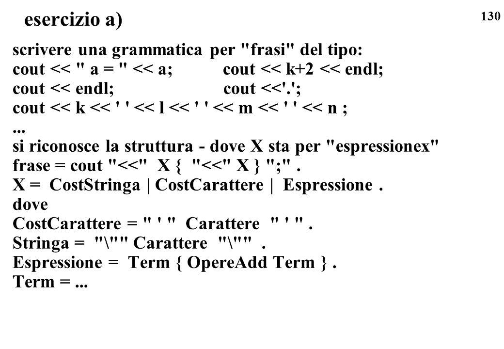 esercizio a) scrivere una grammatica per frasi del tipo:
