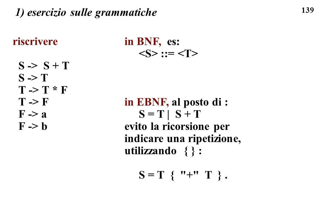 1) esercizio sulle grammatiche