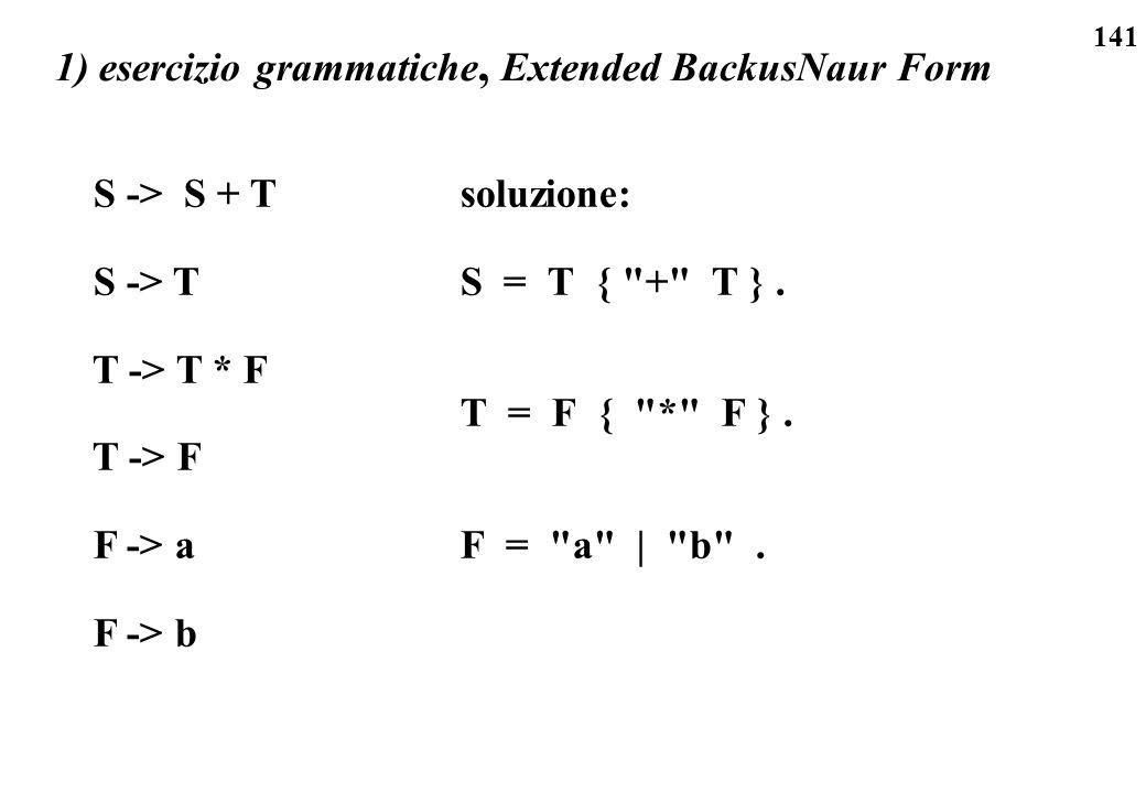 1) esercizio grammatiche, Extended BackusNaur Form