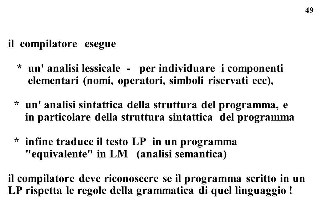 il compilatore esegue * un analisi lessicale - per individuare i componenti. elementari (nomi, operatori, simboli riservati ecc),