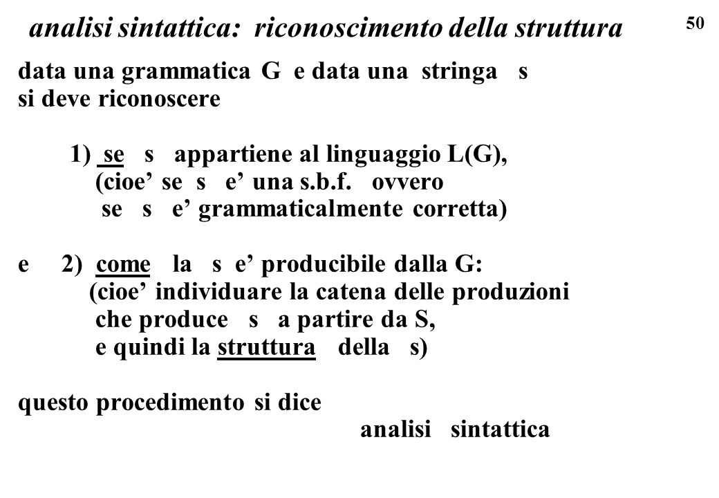 analisi sintattica: riconoscimento della struttura