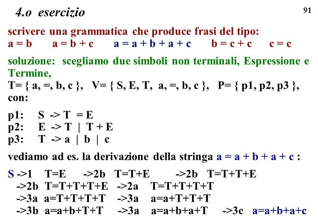 4.o esercizio scrivere una grammatica che produce frasi del tipo: