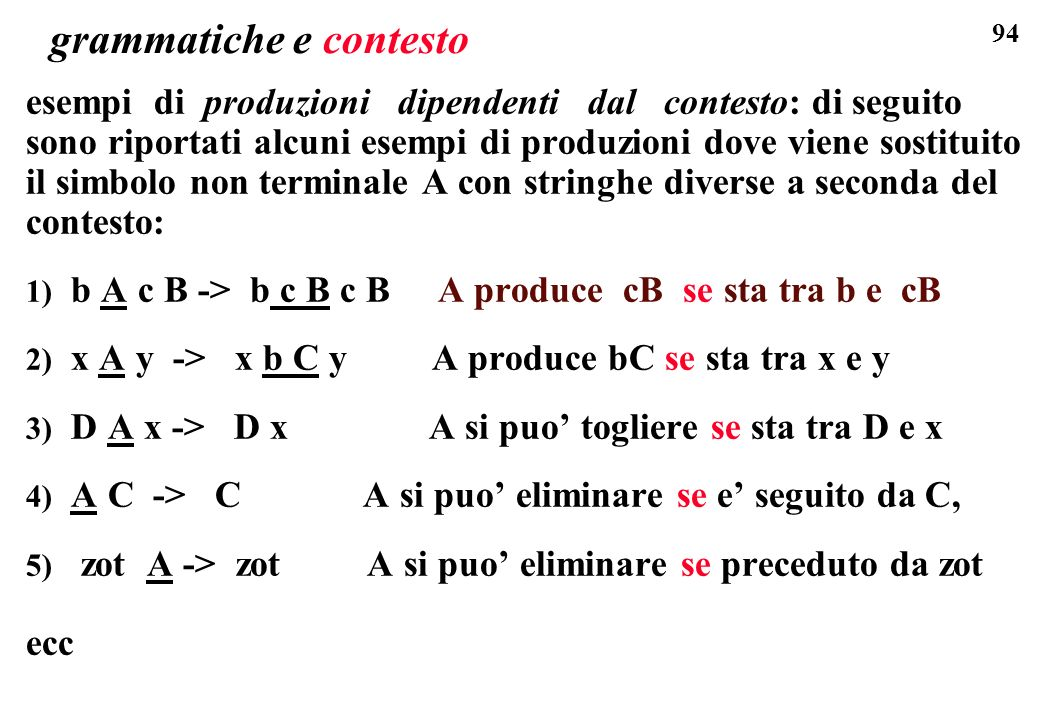 grammatiche e contesto