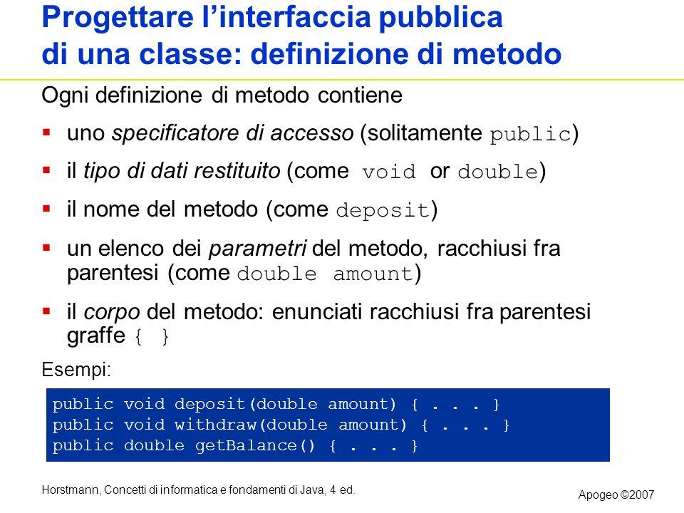 Progettare l'interfaccia pubblica di una classe: definizione di metodo
