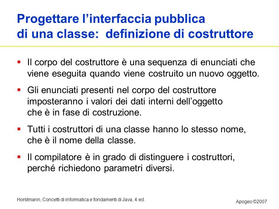 Progettare l'interfaccia pubblica di una classe: definizione di costruttore