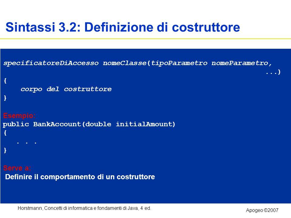 Sintassi 3.2: Definizione di costruttore