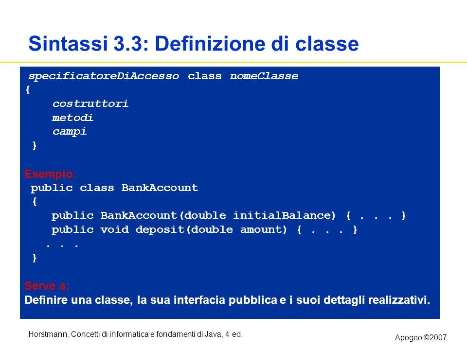 Sintassi 3.3: Definizione di classe