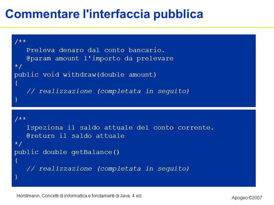 Commentare l interfaccia pubblica