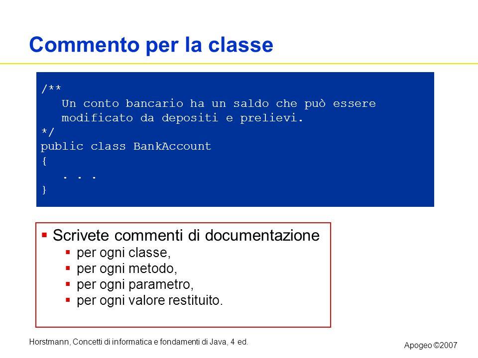 Commento per la classe Scrivete commenti di documentazione