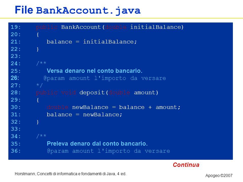 File BankAccount.java 19: public BankAccount(double initialBalance)