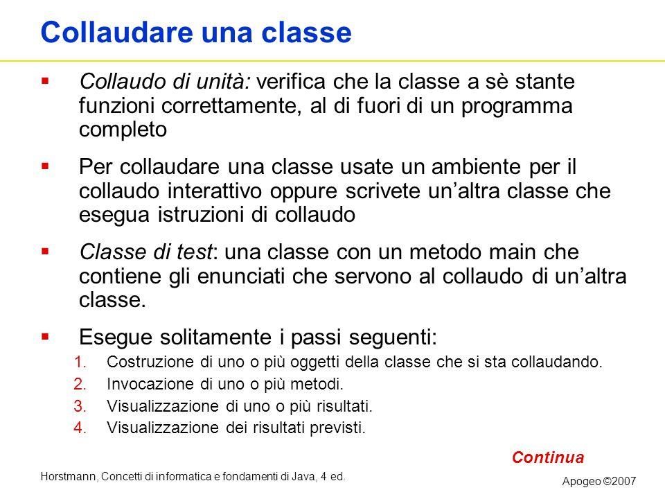 Collaudare una classe Collaudo di unità: verifica che la classe a sè stante funzioni correttamente, al di fuori di un programma completo.