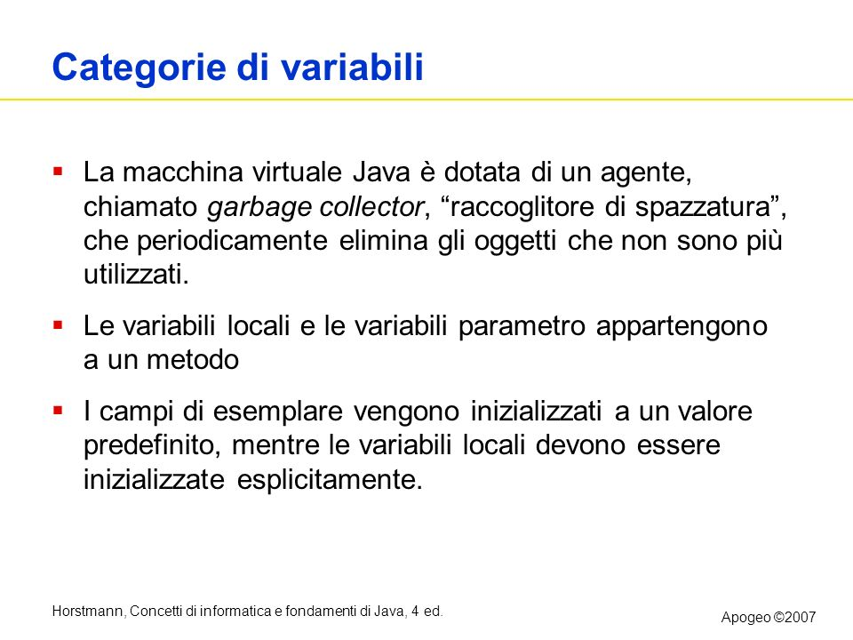 Categorie di variabili