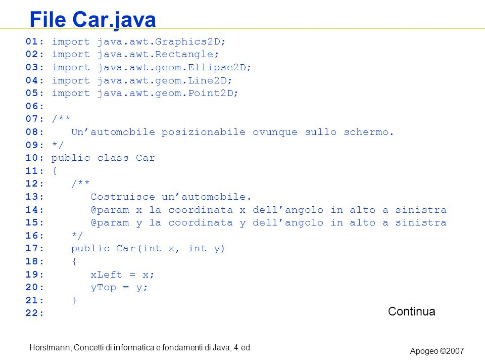 File Car.java Continua 01: import java.awt.Graphics2D;