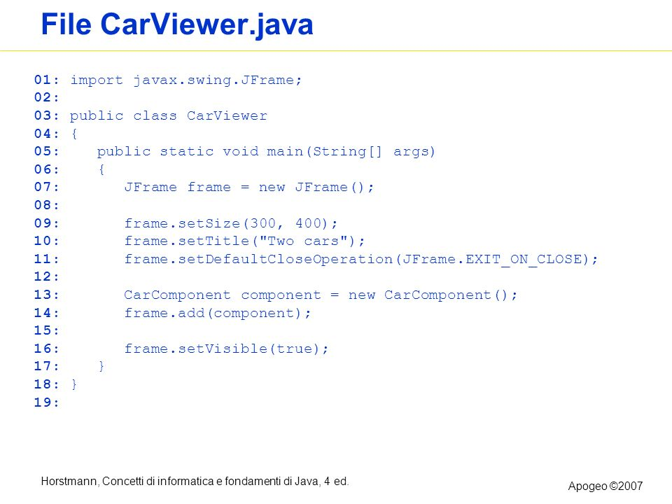 File CarViewer.java 01: import javax.swing.JFrame; 02: