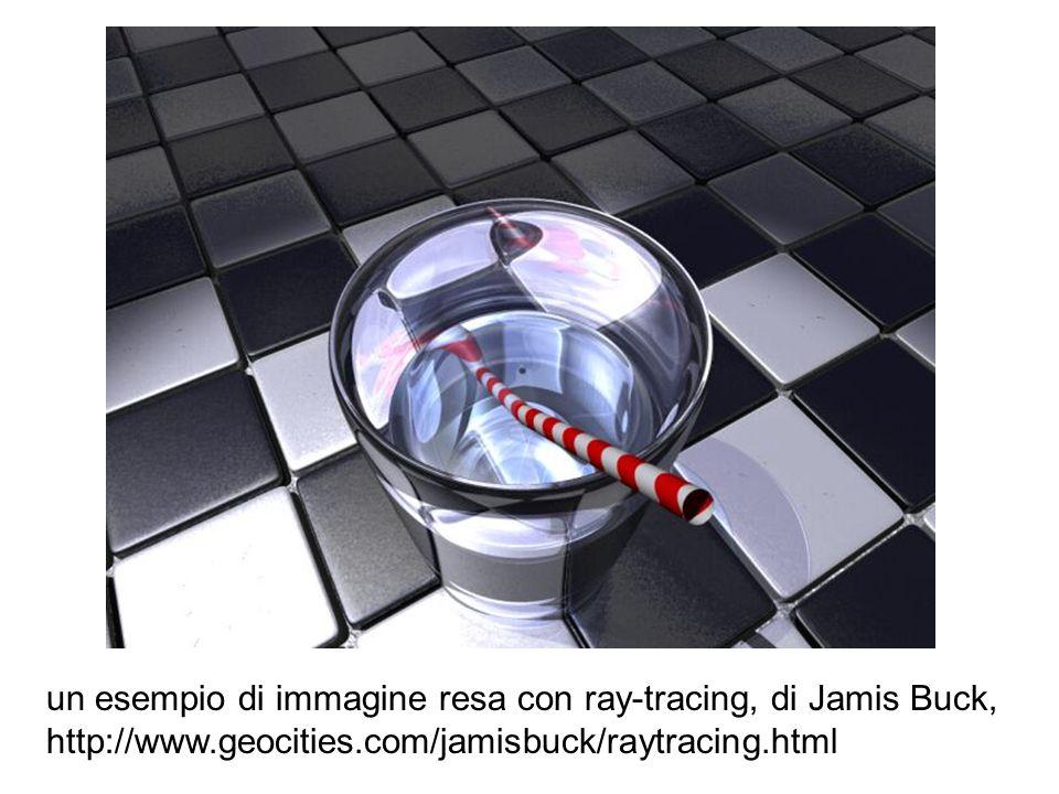 un esempio di immagine resa con ray-tracing, di Jamis Buck,