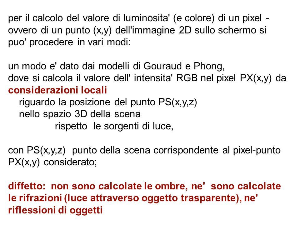 per il calcolo del valore di luminosita (e colore) di un pixel -