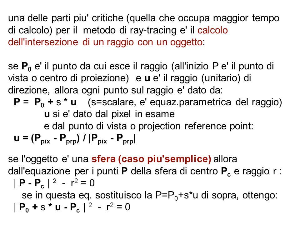 una delle parti piu critiche (quella che occupa maggior tempo di calcolo) per il metodo di ray-tracing e il calcolo dell intersezione di un raggio con un oggetto: