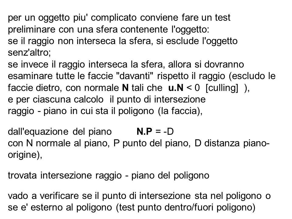 per un oggetto piu complicato conviene fare un test preliminare con una sfera contenente l oggetto: