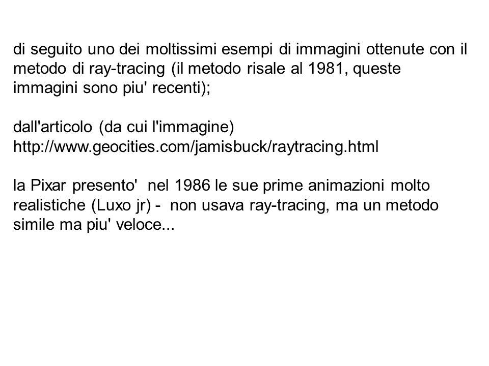 di seguito uno dei moltissimi esempi di immagini ottenute con il metodo di ray-tracing (il metodo risale al 1981, queste immagini sono piu recenti);