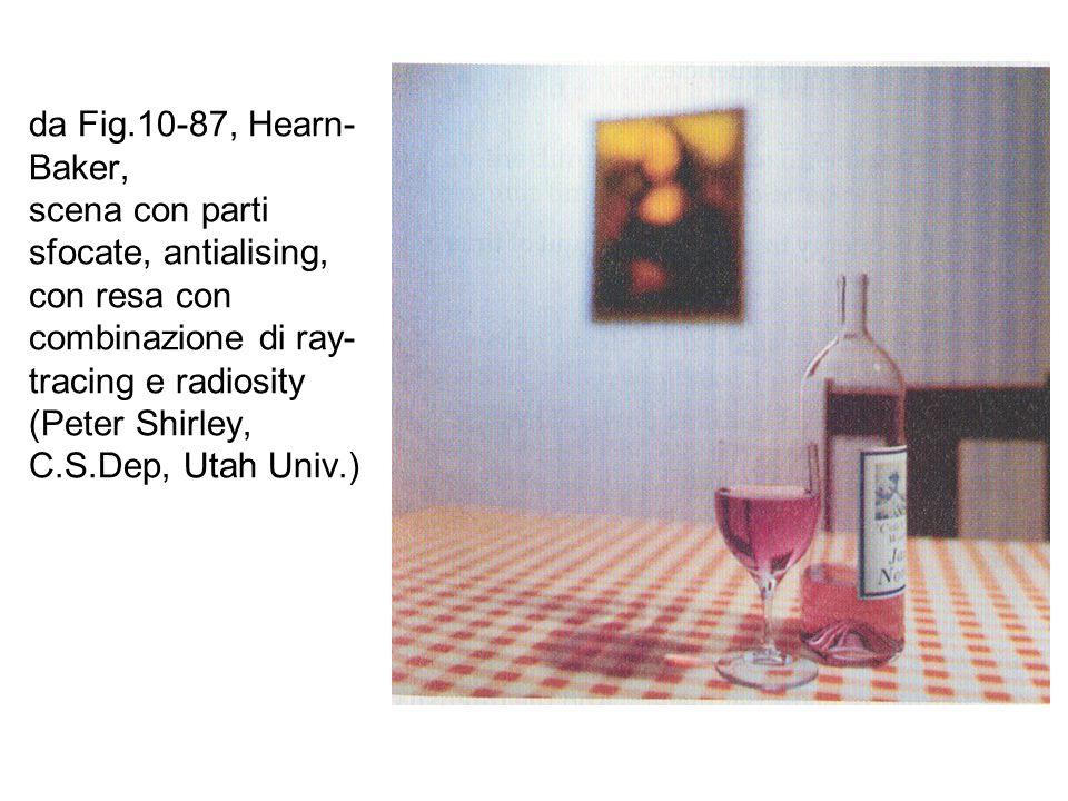 da Fig.10-87, Hearn-Baker, scena con parti sfocate, antialising, con resa con combinazione di ray-tracing e radiosity (Peter Shirley, C.S.Dep, Utah Univ.)