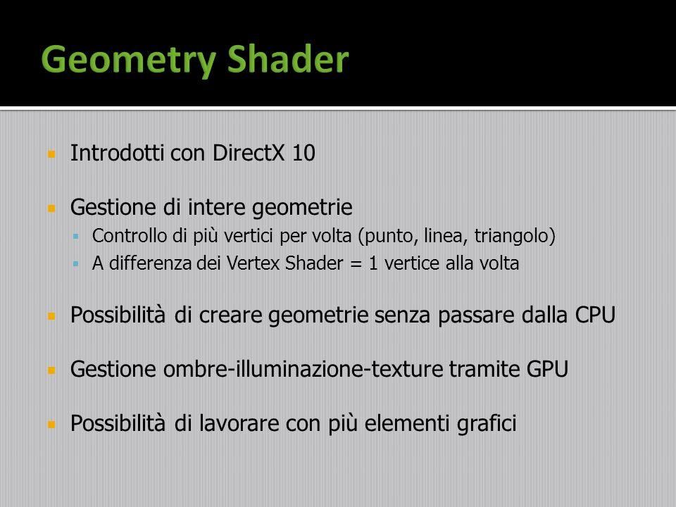 Geometry Shader Introdotti con DirectX 10 Gestione di intere geometrie