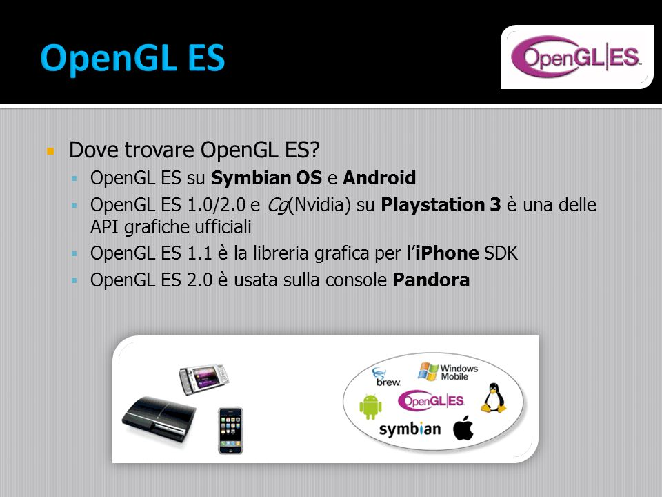 OpenGL ES Dove trovare OpenGL ES OpenGL ES su Symbian OS e Android