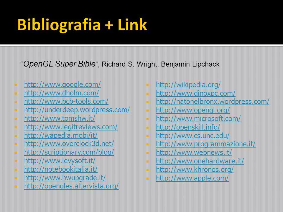 Bibliografia + Link OpenGL Super Bible , Richard S. Wright, Benjamin Lipchack. http://www.google.com/