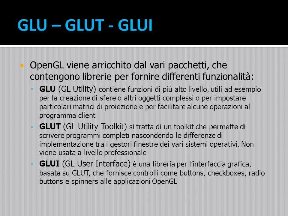 GLU – GLUT - GLUI OpenGL viene arricchito dal vari pacchetti, che contengono librerie per fornire differenti funzionalità: