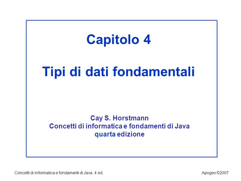 Capitolo 4 Tipi di dati fondamentali