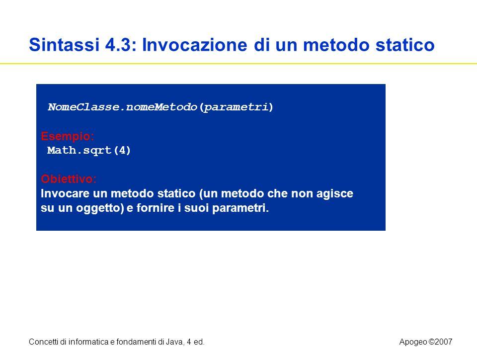 Sintassi 4.3: Invocazione di un metodo statico