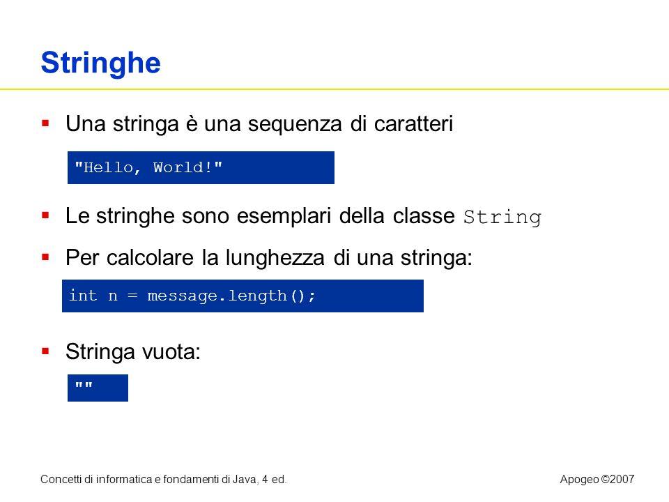 Stringhe Una stringa è una sequenza di caratteri
