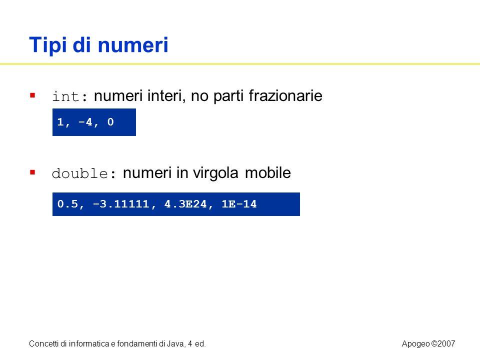Tipi di numeri int: numeri interi, no parti frazionarie