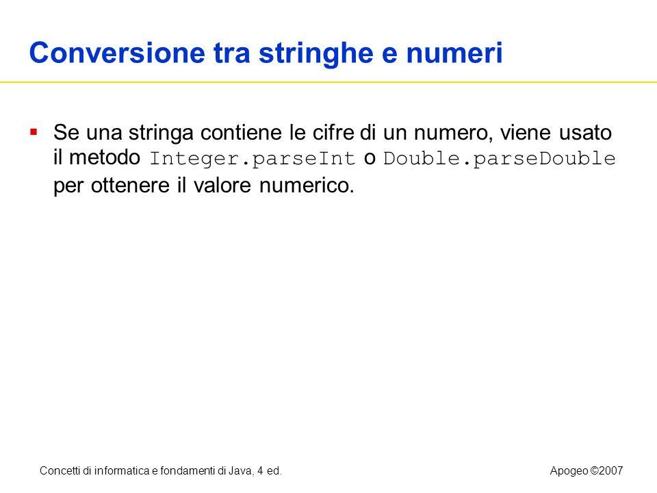 Conversione tra stringhe e numeri