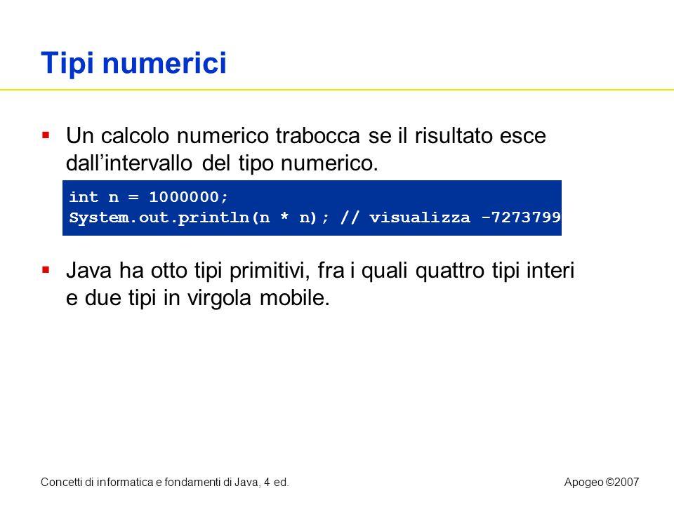 Tipi numerici Un calcolo numerico trabocca se il risultato esce dall'intervallo del tipo numerico.