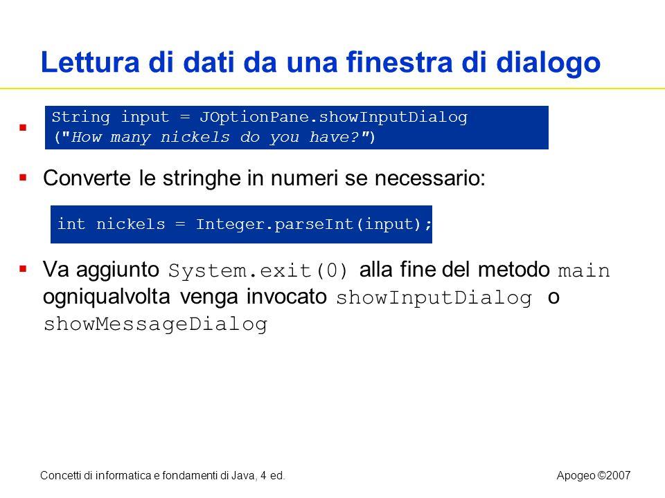 Lettura di dati da una finestra di dialogo