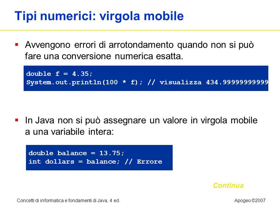 Tipi numerici: virgola mobile