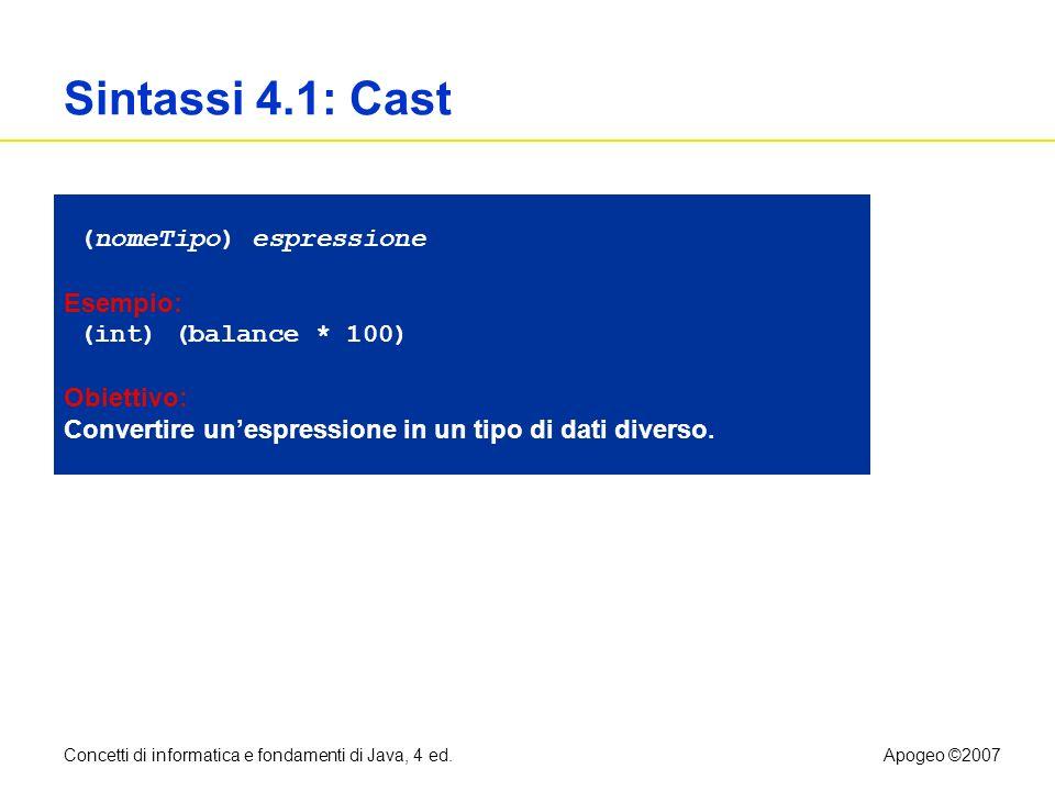Sintassi 4.1: Cast (nomeTipo) espressione Esempio: