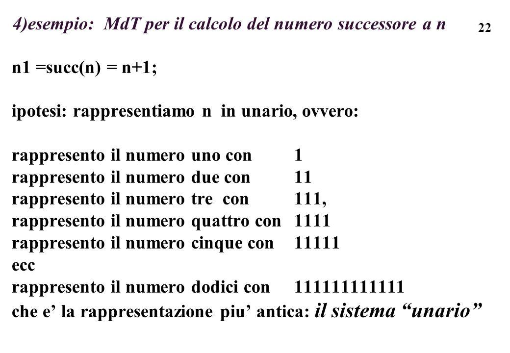 4)esempio: MdT per il calcolo del numero successore a n